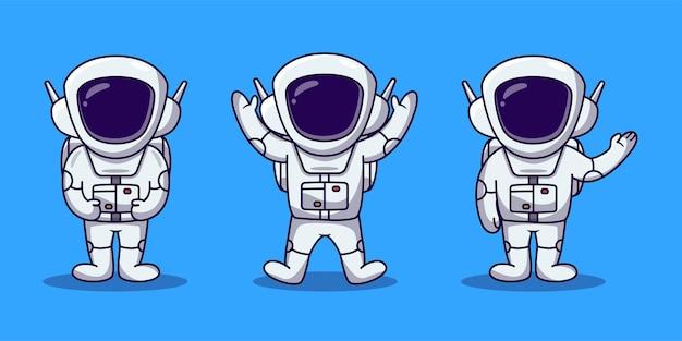 Cute astronaut cartoon set illustration.