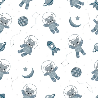 Cute astronaut cat animal cartoon seamless pattern