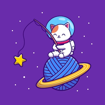 Cute astronaut cat fishing star on yarn wool planet cartoon vector