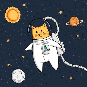 Cute astronaut cat floating in space