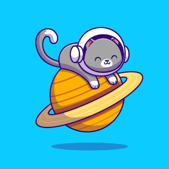 Cute astronaut cat lying on planet. animal space