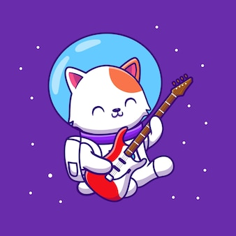 Cute astronaut cat playing guitar cartoon