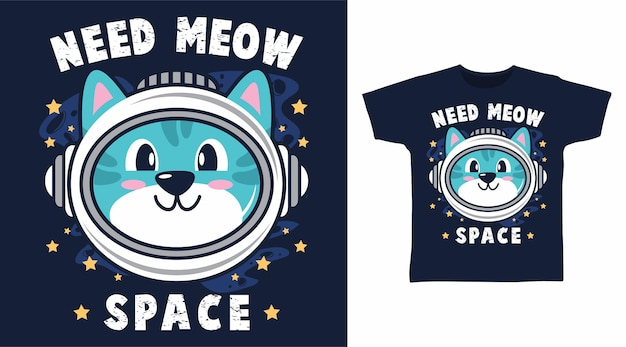 Симпатичный дизайн футболки с котом-космонавтом