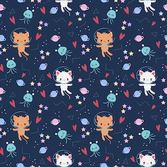 Cute astronaut cat with star and galaxy elements seamless pattern
