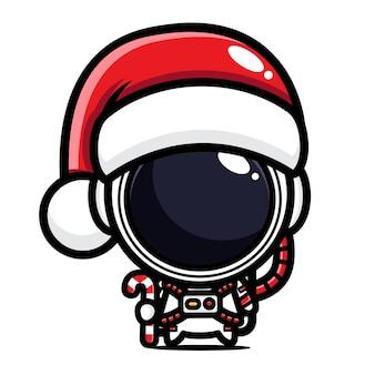크리스마스를 축하하는 귀여운 우주 비행사