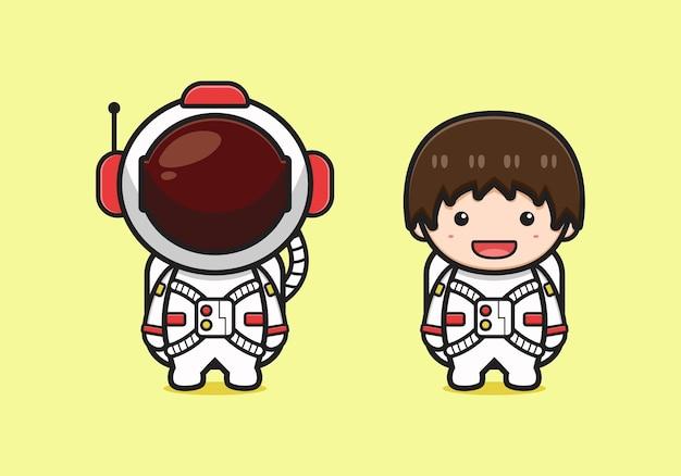 かわいい宇宙飛行士のキャラクターの漫画のアイコンのイラスト。孤立したフラット漫画スタイルをデザインする