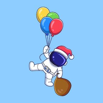 풍선을 날고 크리스마스 선물 가방을 들고 다니는 귀여운 우주 비행사 캐릭터. 평면 스타일 만화 그림입니다.