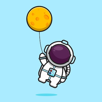 Cute astronaut character flying with moon balloon cartoon   icon illustration. science technology icon concept isolated  . flat cartoon style