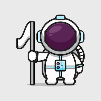 Cute astronaut character holding flag cartoon   icon illustration. science technology icon concept isolated  . flat cartoon style