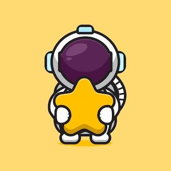 Cute astronaut character hug star cartoon   icon illustration. science technology icon concept isolated  . flat cartoon style