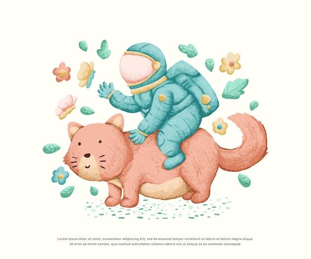 かわいい宇宙飛行士のキャラクターイラストデザイン