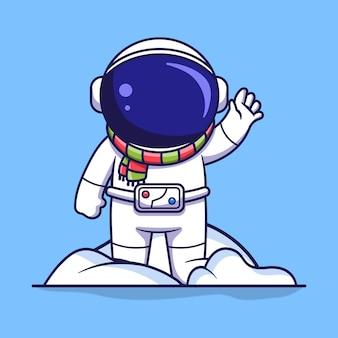 귀여운 우주 비행사 캐릭터가 눈 더미 위에 서서 손을 흔들고 있습니다. 플랫 만화 스타일