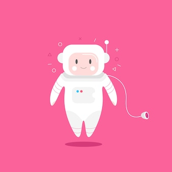 Cute astronaut character levitating on pink