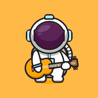 Cute astronaut character playing guitar cartoon   icon illustration. science technology icon concept isolated  . flat cartoon style