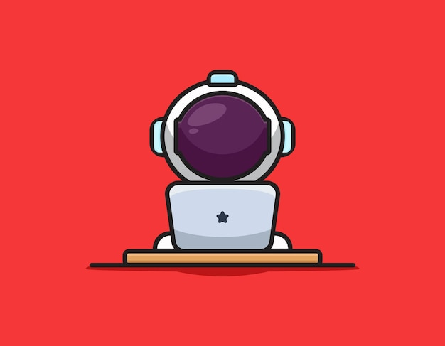 Cute astronaut character playing laptop cartoon   icon illustration. science technology icon concept isolated  . flat cartoon style