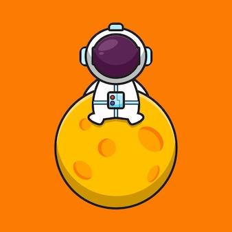 かわいい宇宙飛行士のキャラクターが月に座る漫画アイコンイラスト科学技術アイコンコンセプト