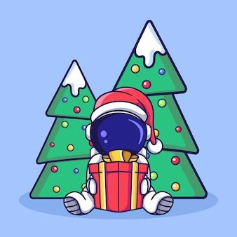 Симпатичный персонаж космонавта, сидящий с подарочной коробкой и рождественской елкой, плоская иллюстрация в мультяшном стиле