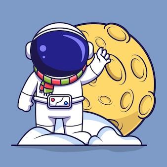 눈과 달 플랫 만화 스타일의 그림 더미에 서 있는 귀여운 우주 비행사 캐릭터