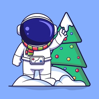 눈 더미와 크리스마스 트리에 서 있는 귀여운 우주 비행사 캐릭터. 납작한 만화 스타일의 삽화