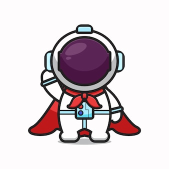 Cute astronaut character super hero cartoon   icon illustration. science technology icon concept isolated  . flat cartoon style