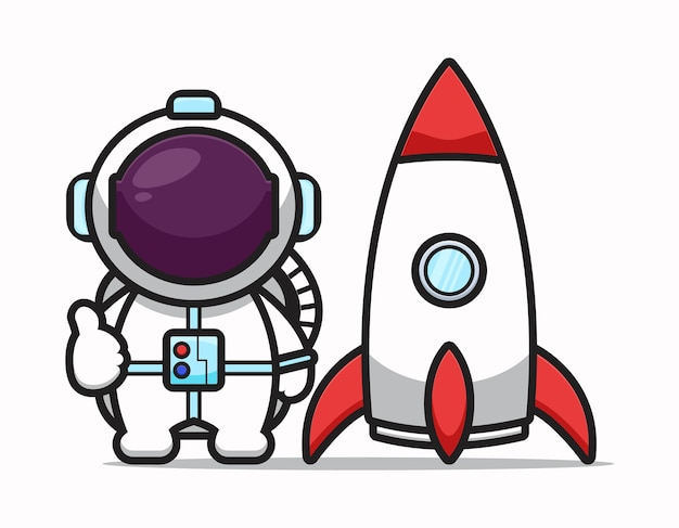 Cute astronaut character with good pose and rocket cartoon   icon illustration. science technology icon concept isolated  . flat cartoon style