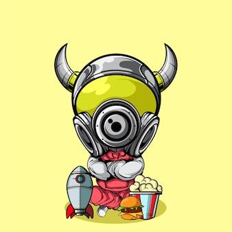 팝콘 버거와 로켓 장난감이 있는 귀여운 우주 비행사 캐릭터
