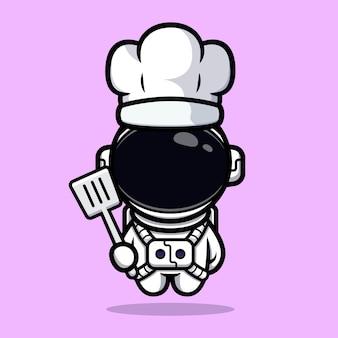귀여운 우주 비행사 요리사 마스코트