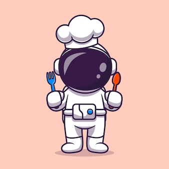 Cute astronaut chef with fork and spoon cartoon vector icon illustration. science profession icon concept isolated premium vector. flat cartoon style