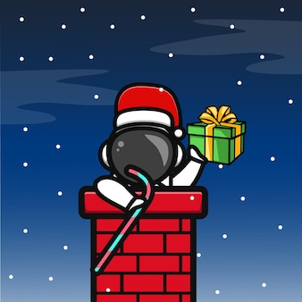 Cute astronaut in the christmas night cartoon