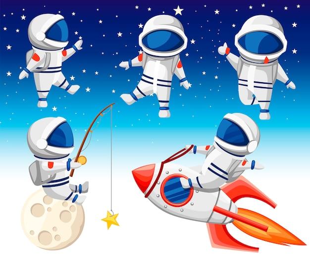 Коллекция милых космонавтов. астронавт сидит на ракете, космонавт сидит на луне и ловит рыбу, а трое танцующих космонавтов. стиль. иллюстрация на фоне неба