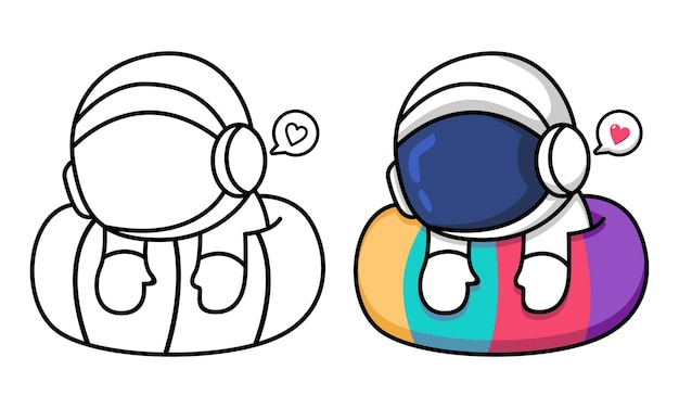 Cute astronaut coloring page for kids