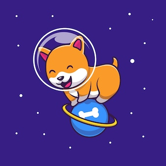 Cute astronaut corgi