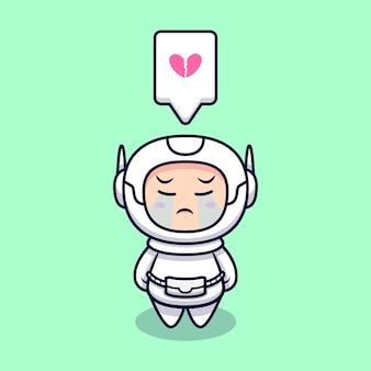 Милый космонавт плачет иллюстрации шаржа. плоский мультяшном стиле