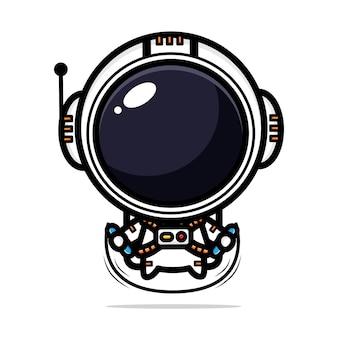 귀여운 우주 비행사 디자인 건너 뛰기 재생 프리미엄 벡터
