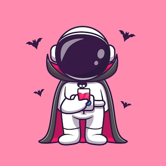 Cute astronaut dracula drink blood cartoon vector icon illustration. science holiday icon concept isolated premium vector. flat cartoon style
