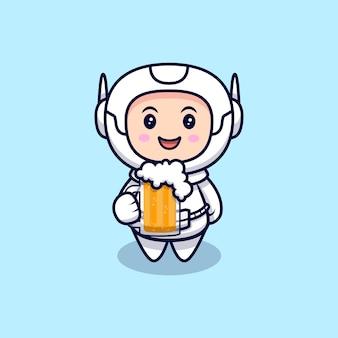 맥주 만화 일러스트를 마시는 귀여운 우주 비행사. 플랫 만화 스타일