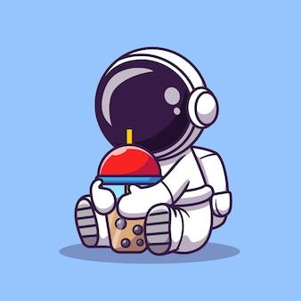ボバミルクティー漫画ベクトルアイコンイラストを飲むかわいい宇宙飛行士。科学の食べ物や飲み物のアイコン
