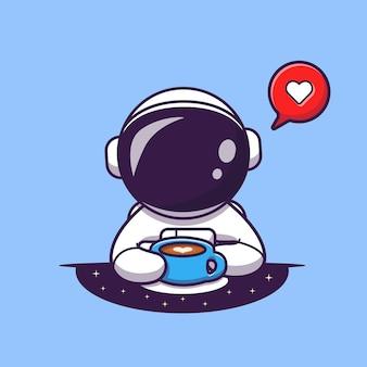 コーヒーを飲むかわいい宇宙飛行士漫画ベクトルアイコンイラスト。科学の食べ物や飲み物のアイコン