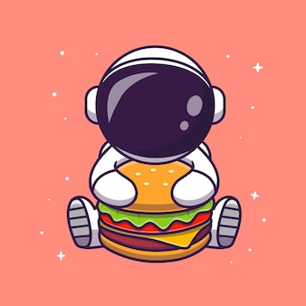 Cute astronaut eating burger cartoon vector icon illustration. science food icon concept isolated premium vector. flat cartoon style