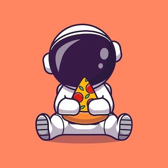 Милый космонавт ест пиццу мультфильм вектор значок иллюстрации. концепция науки еда значок изолированные premium векторы. плоский мультяшном стиле
