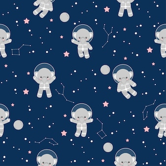 Cute astronaut elephant animal cartoon seamless pattern
