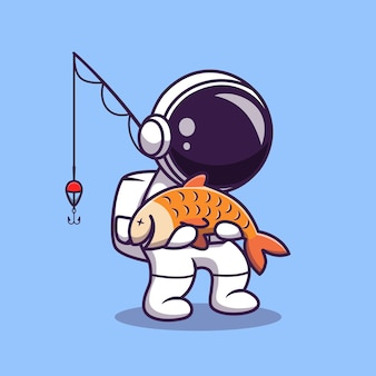 Cute astronaut fishing cartoon illustration. science sport concept