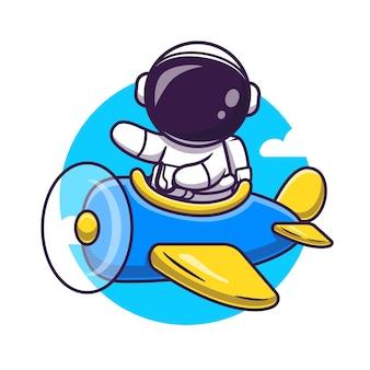 비행기 일러스트와 함께 귀여운 우주 비행사 비행