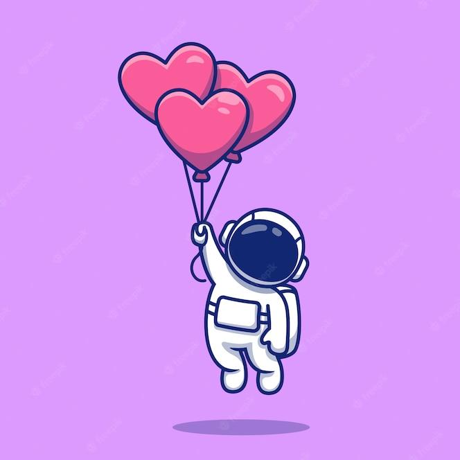 Cute Astronaut Sitting On Planet Waving