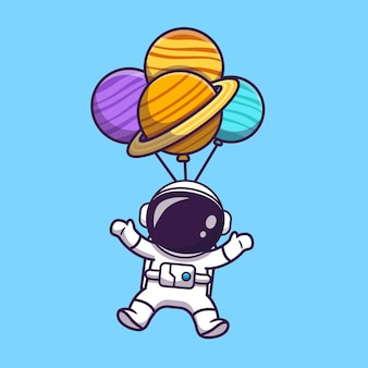 Cute astronaut floating with planet balloon in space cartoon illustration