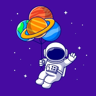 宇宙漫画アイコンイラストで惑星風船と浮かぶかわいい宇宙飛行士。分離された技術科学アイコン。フラット漫画スタイル