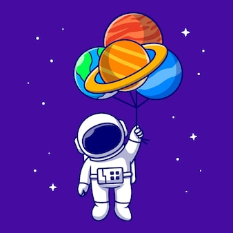 Cute astronaut floating with planet balloons in space cartoon   icon illustration. technology science icon   isolated    . flat cartoon style