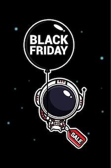 Cute astronaut flying in black friday balloon