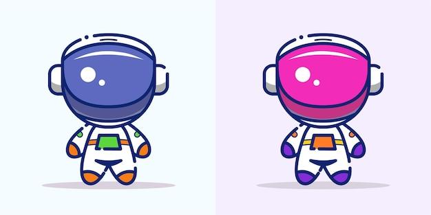 宇宙で飛んでいるかわいい宇宙飛行士漫画アイコンイラスト