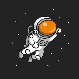 공간 만화에서 비행 귀여운 우주 비행사